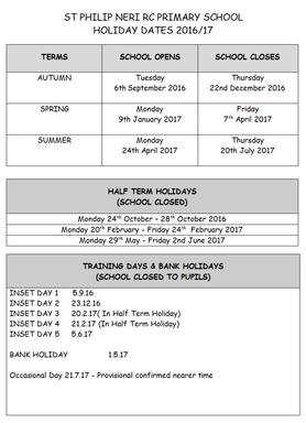 term dates 2016