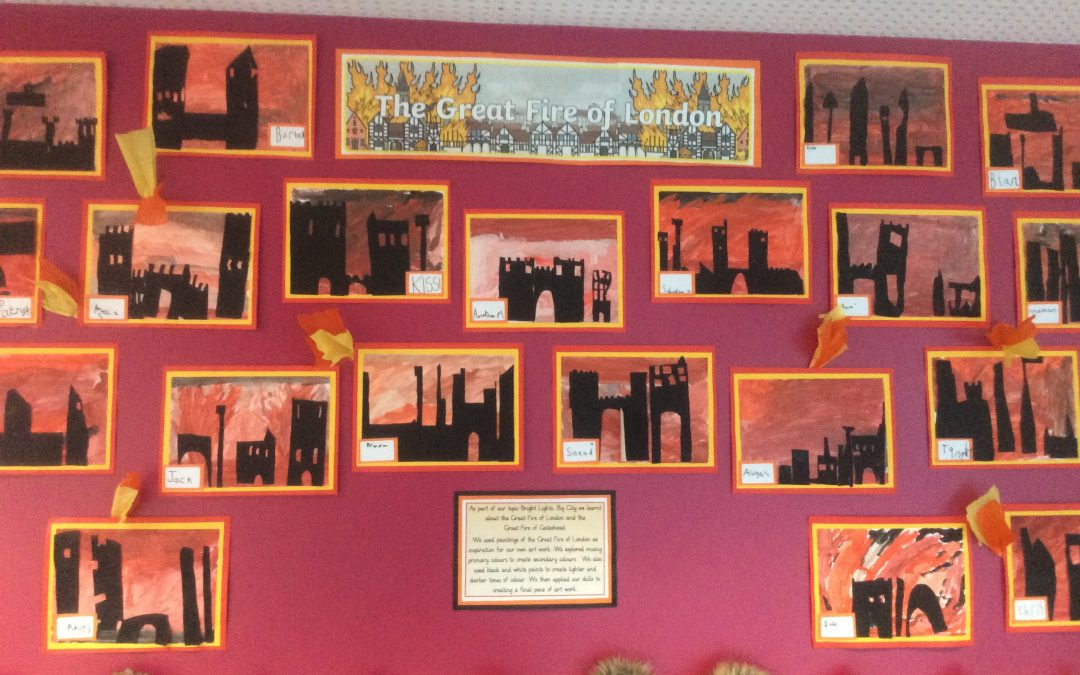 Great Fire of London Art in Class 2!
