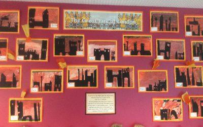 Great Fire of London Art in Class 2!